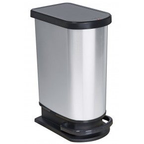 Poubelle à pédale 50L PASO effet métal