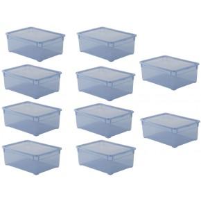 LOT DE 10 boîtes de rangement L36,5xP26,5xH14cm CLEAR BOX Bleu Soft