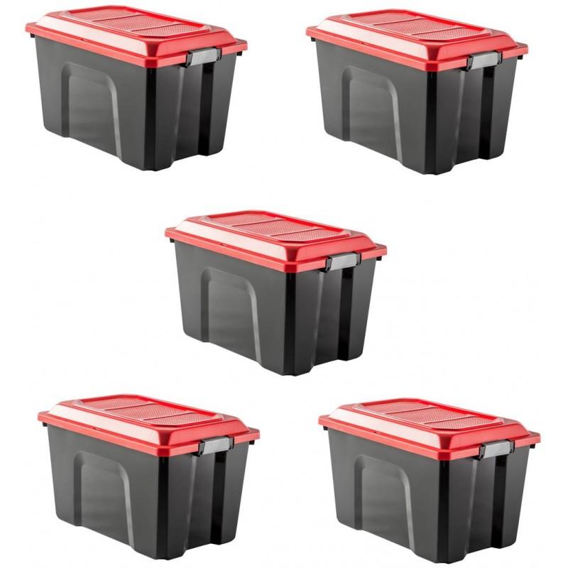 LOT DE 5 malles de rangement L58xP38.5xH36,5cm LOCKER 60L - Sundis Shop