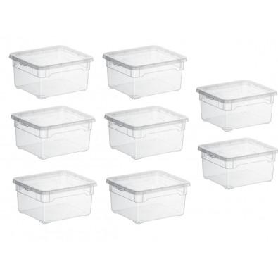 LOT DE 6 boîtes de rangement L19xP16.5xH9cm CLEAR BOX