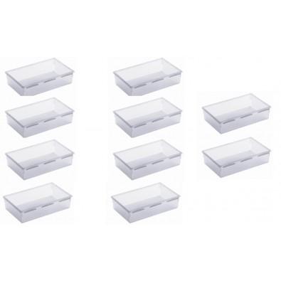 LOT DE 10 organiseurs de tiroir en plastique 23x15xh.5cm