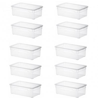 LOT DE 10 boîtes de rangement L33xP19xH11cm CLEAR BOX