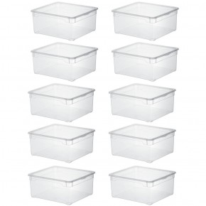 LOT DE 10 boîtes de rangement L40xP33,5xH17cm CLEAR BOX