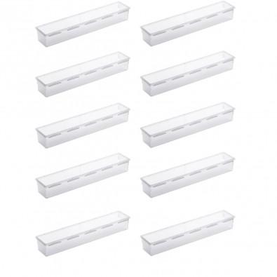 LOT DE 10 organiseurs de tiroir en plastique 38x8xh.5cm