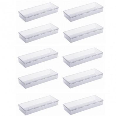 LOT DE 10 organiseurs de tiroir en plastique 38x15xh.5cm