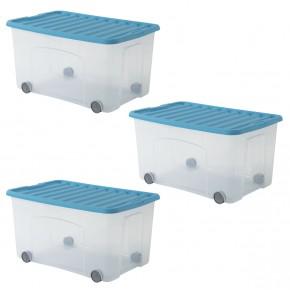 Lot de 3 bacs à roulettes Ventilo 50L bleu