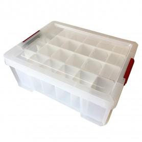 LOT DE 3 Bacs de rangement renforcé pour 24 verres avec couvercle Glass Store 27L