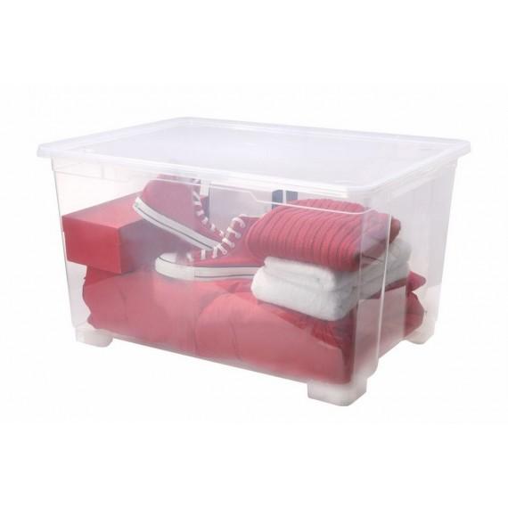 Boîte de rangement à roulettes L78xP56xH45cm CLEAR BOX