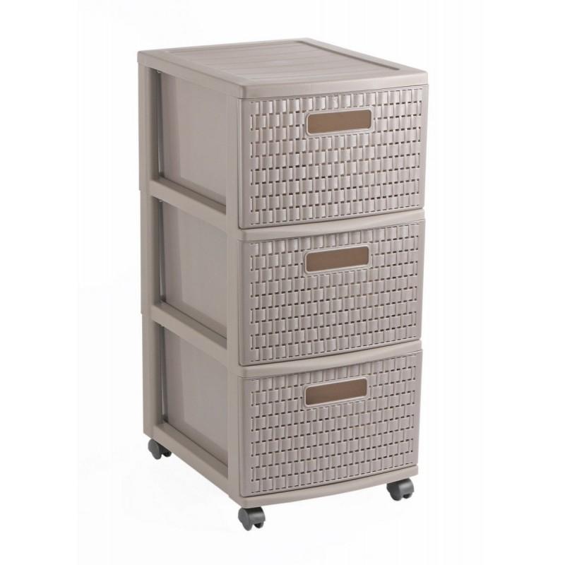 Tour 3 tiroirs de rangement à roulettes L30xP38xH65,5cm COUNTRY - Sundis Shop