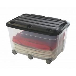 Bac de rangement plastique à clips avec roulettes KLIPSO 60L Couleur-Translucide