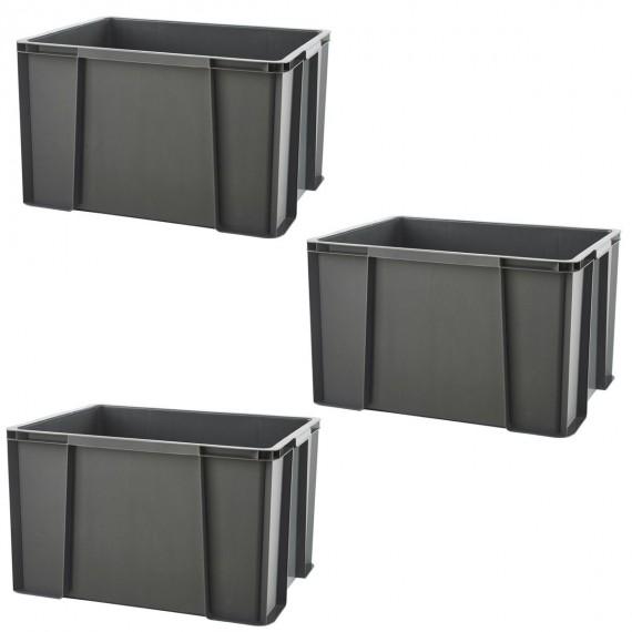 LOT DE 3 bacs de rangement renforcés L50xP38,5xH30,5cm MASTERBOX