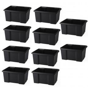 LOT DE 10 bacs de rangement noirs L45,5xP36,5xH23cm