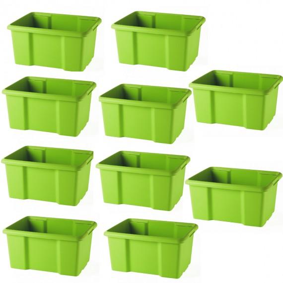 LOT DE 10 bacs de rangement verts L45,5xP36,5xH23cm