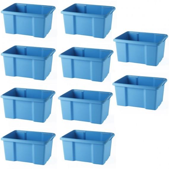 LOT DE 10 bacs de rangement bleus L38xP29xH19,5cm