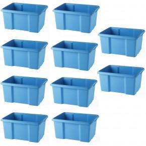 LOT DE 10 bacs de rangement bleus L45,5xP36,5xH23cm