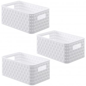 LOT DE 3 paniers A5 de rangement blancs L28xP18,5xH12,6cm COUNTRY