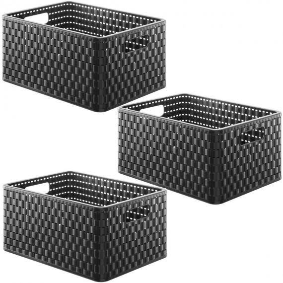 lot de 3 paniers de rangement noirs l36 8xp27 8xh19 1cm country sundis shop. Black Bedroom Furniture Sets. Home Design Ideas