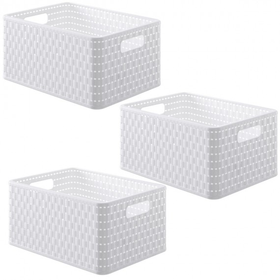 LOT DE 3 paniers de rangement blancs L36,8xP27,8xH19,1cm COUNTRY
