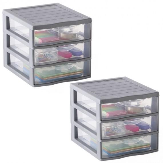 LOT DE 2 minis-tours A6 / 3 tiroirs de rangement argent L18xP21xH17cm ORGAMIX