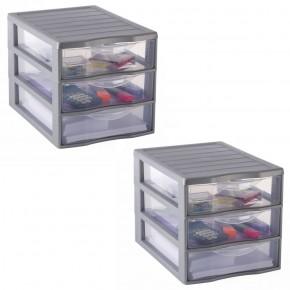LOT DE 2 tours A4 / 3 tiroirs de rangement argent L26xP36,5xH25,5cm ORGAMIX