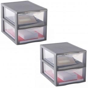 LOT DE 2 tours A4 / 2 tiroirs de rangement argent L26xP36,5xH25,5cm ORGAMIX