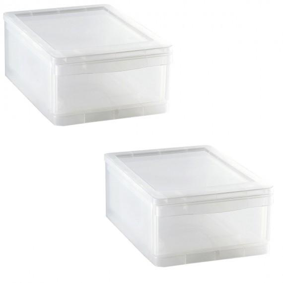 LOT DE 2 tiroirs de rangement L25,5xP35xH14cm CLEAR DRAWER