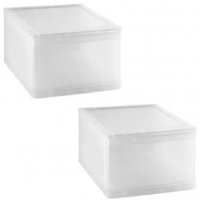 LOT DE 2 tiroirs de rangement L32xP39xH21,5cm CLEAR DRAWER