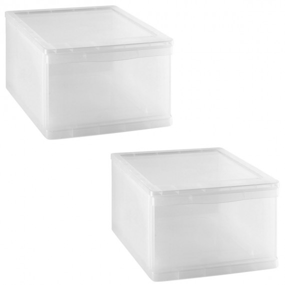 LOT DE 2 tiroirs de rangement L32xP39xH21,5cm CLEAR DRAWER