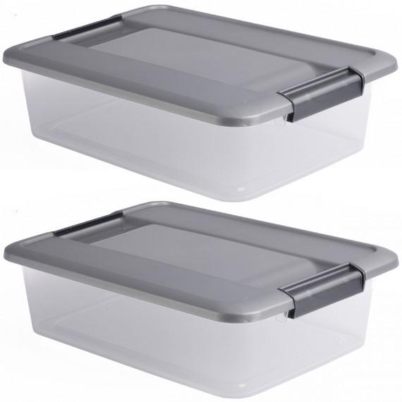LOT DE 2 boîtes de rangement à clips L39xP28,5xH9,5cm KLIKER BOX