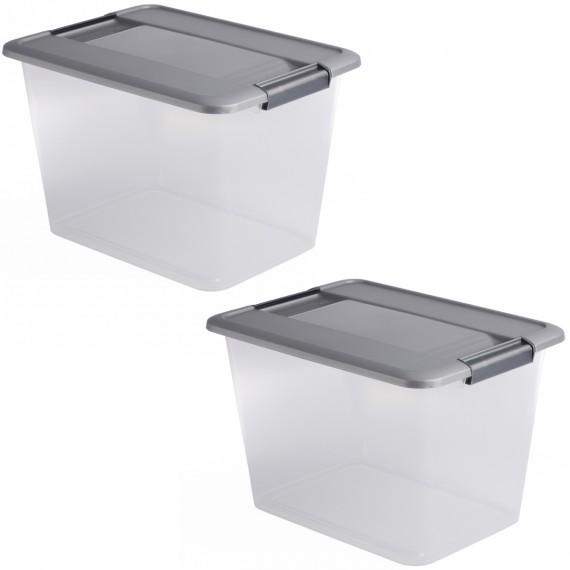 LOT DE 2 boîtes de rangement à clips L39xP28,5xH25,5cm KLIKER BOX