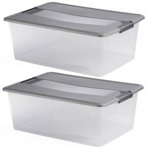 LOT DE 2 boîtes de rangement à clips L57xP39xH20,5cm KLIKER BOX