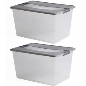 LOT DE 2 boîtes de rangement à clips L57xP39xH30,5cm KLIKER BOX