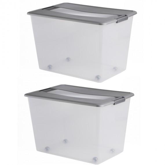 LOT DE 2 boîtes de rangement à clips avec roulettes L57xP39xH37,5cm KLIKER BOX