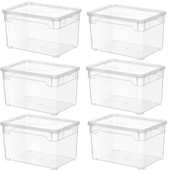LOT DE 6 boîtes de rangement L26xP17,5xH15cm CLEAR BOX