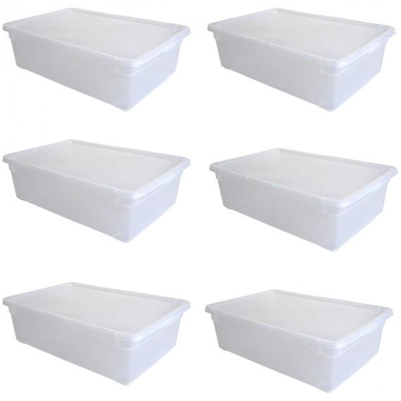 LOT DE 6 boîtes de rangement L55xP37,5xH16cm CLEAR BOX