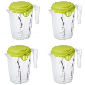 LOT DE 4 Pichets doseur en plastique Fresh 1.2L