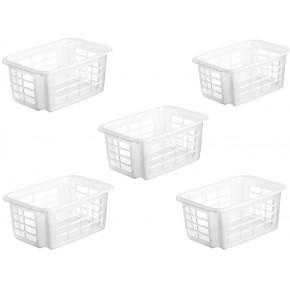 LOT DE 5 paniers en plastique Reverso L.29.5xl.19.5xH.12.5cm