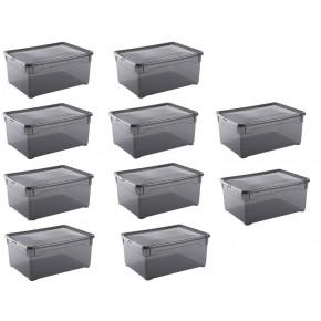 LOT DE 10 boîtes de rangement L40xP33,5xH17cm CLEAR BOX Gris Galet Soft